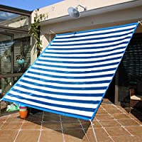 バルコニーヤード日光保護シェードクロス、厚く覆われたエッジシェード青と白6.6 * 13.1フィートのサンシェードカバー、パティオ用カーポートキャラバンアネックス(2m*4m)