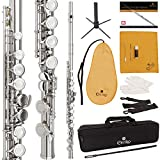 Cecilio High Grade Student C Flute Package with Case, Stand, Pocketbook, Cleaning Rod, Cleaning Cloth, Joint Grease, Mouthpiece Brush, Gloves, Screwdriver and 1 Year Warranty (Silver Nickel Plated)