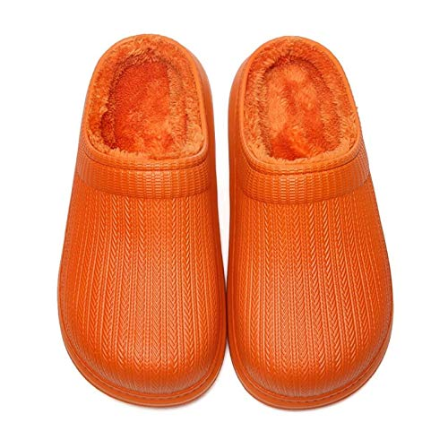 KAFITE Zapatillas Impermeables para Mujer Cozy Casa de Felpa Zapatillas de Piel Forrada Zuecos para Exteriores Millas de Exterior Zapatillas para el hogar (Color : 37~38, Size : Orange)