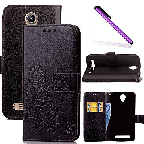 COTDINFOR Acer Liquid Z6 Hülle für Mädchen Elegant Retro Premium PU Lederhülle Handy Tasche im Bookstyle mit Magnet Standfunktion Schutz Etui für Acer Liquid Z6 Clover Black SD.