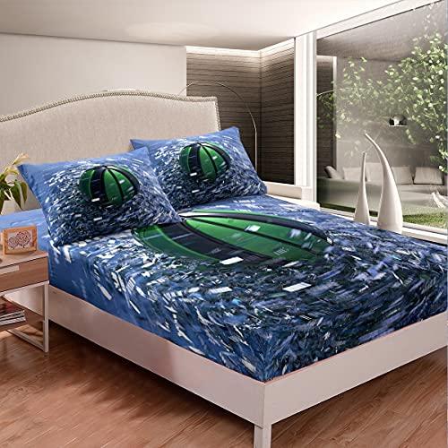 Loussiesd Juego de sábanas de baloncesto con diseño de pelota 3D, juego de cama para niños y adultos, funda de cama ultra suave, diseño moderno, color azul