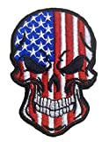 Antrix Tactical USA US American Flag Horror Scary Dead Skull Head Skeleton Patch Hook and Loop Embroidered Military Skull Sticker Patch for Biker Moto Jackets Jeans Jersey Pants -3.54x2.36'