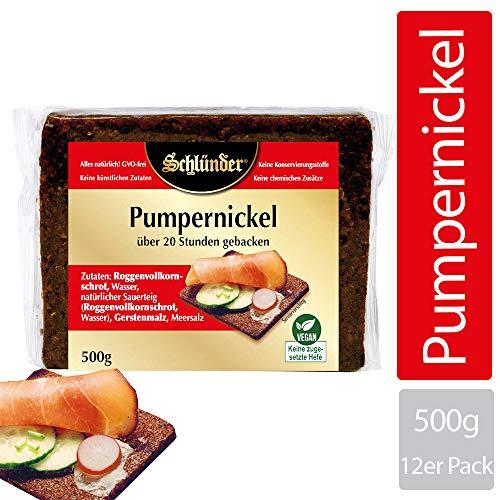 Schlünder Pumpernickel - Schwarzbrot aus Roggenvollkornschrot, über 20 Stunden gebacken, 100% natürlich & vegan, Dauerbrot, reich an Ballaststoffen, Bäcker-Brot made in Germany, 12x500g