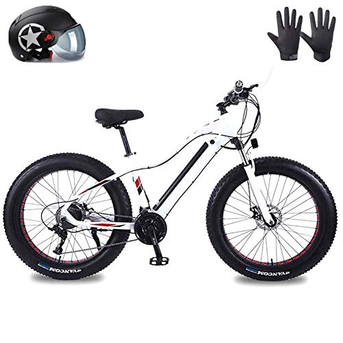 Mountain bike elettrica, BICICLETA DE MONTAÑA ELÉCTRICA Pneumatico FAT PRENO PARA Adultos, Bicicletas de Nieve 36V 10Ah Li-batteria 350-1500W, Bicicleta de Playa de Aleación de Aluminio de 27 Velocida
