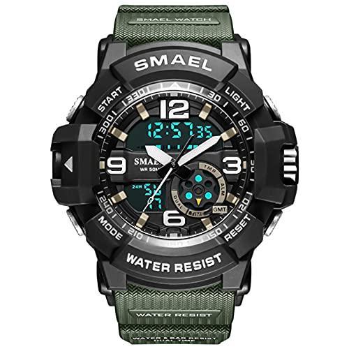 JTTM Reloj New Men's Cool Trendy Waterproof Reloj De Moda Ocio Deportes Al Aire Libre Mano Electrónica,Army Green