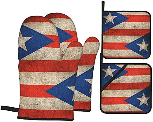 Juego de 4 manoplas y agarraderas de horno retro con bandera de Puerto Rico, resistentes al calor, soportes para ollas para barbacoas