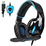 YHLZ Gaming Headset, 7.1 Kanal Virtual USB Surround Stereo Wired PC Gaming Headset über Ohr-Ohrhörer mit Mikrofon Revolution Volume Control Noise-Cancelling LED-Licht (Color : Blue)