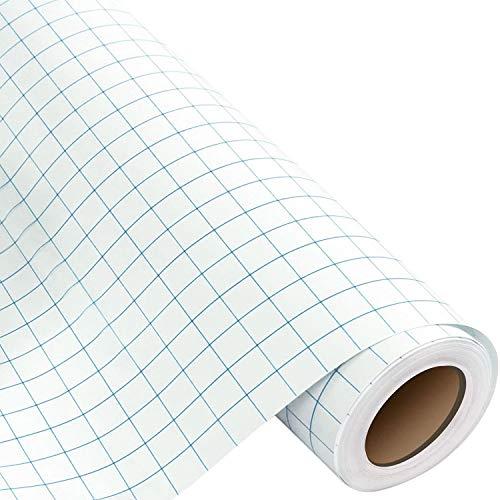 Transferfolie Plotter für Vinyl, 30 * 500 cm mit Blau Ausrichtungsgitter-Übertragungsfolie Plotter, Vinyl Transferband für Becher, Schilder, Fenster und Aufkleber