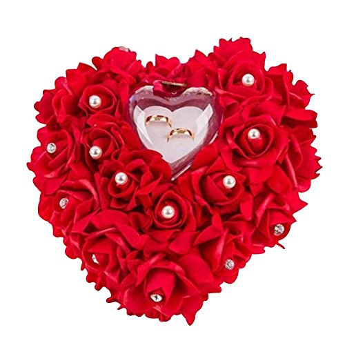 Woneart Romántica Almohada Anillo de Boda Forma corazón Anillo Cojín Almohada Anillo Cojín Caja Decoración Regalo para Boda Nupcial Ceremonia (Rojo)