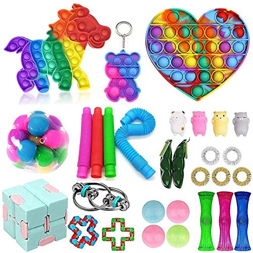 MPUOYHK 30pcs TIK TOK TOK Fidget Toys Pack, Alivio de estrés Barato Fidget Juguetes, con Simples Dimples Bubble Infinite Cube DNA Stress Revive Bolas, Bubble Fidget Sensory Toy (Color : A10)