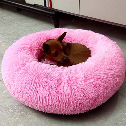 GAOZHEN Cama para Perros de Felpa Cama Redonda para Perros y Gatos, Cama ortopédica Grande para calmar a Las Mascotas, Cesta para Dormir, Almohada para Perros de Piel sintética cálida y Suave, cojín