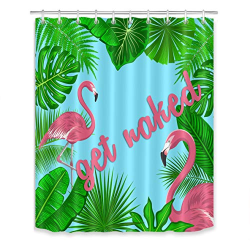 LB Tropical Flamingo Shower Curtain Get Naked Pink Green Monstera Palm Banana Leaf Font Bathroom Curtains with Hooks 60x72 inch Waterproof Polyester Fabric
