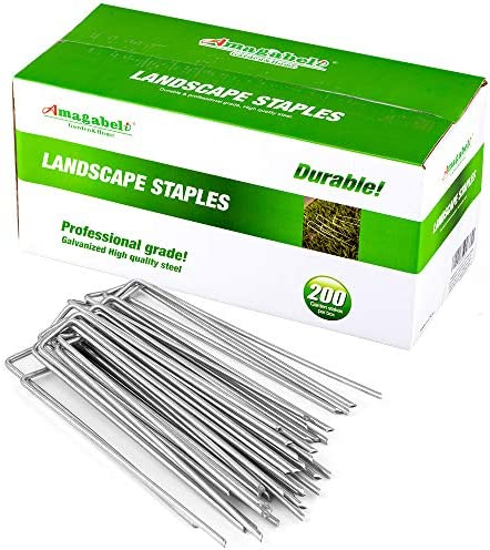 Amagabeli 10 Inch Galvanized Landscape Staples 200 Pack Garden Stakes Heavy Duty Sod Pins Anti product image