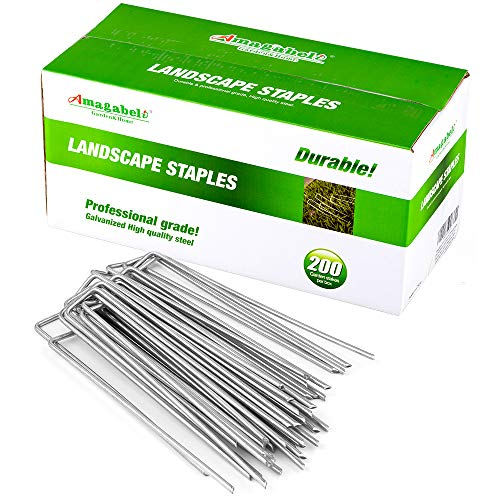 Amagabeli 10 Inch Galvanized Landscape Staples 200 Pack Garden Stakes Heavy-Duty Sod Pins Anti-Rust Fence Stakes for Weed Barrier Fabric Ground Cover Dripper Irrigation Tubing Soaker