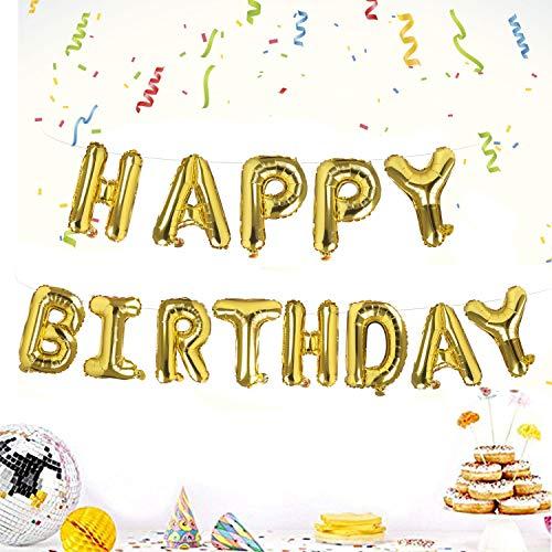 Camelize Happy Birthday Ballons Banner,selbstaufblasendes Luftballons ,Buchstaben Folien Banner,Geburtstag Luftballons,Buchstaben Folien Banner,Folienluftballons Dekoration für Partydekoration,Gold