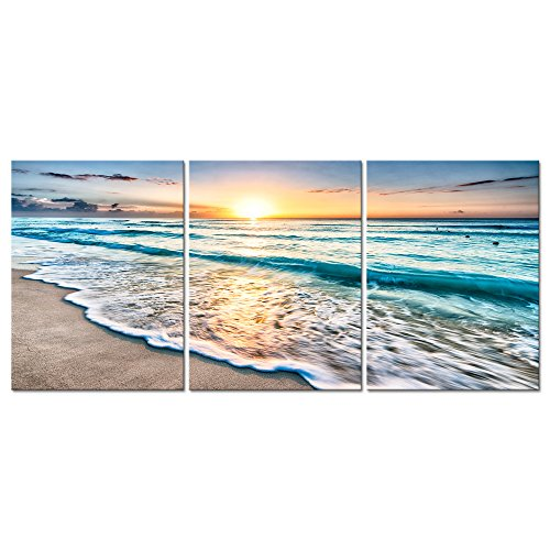Pyradecor 3 Panels Blue Beach Sunrise White Wave Pictures Painting on Canvas Wall Art Modern Stretched Seascape Canvas Prints Seaview Landscape Artwork for Home Office Decorations