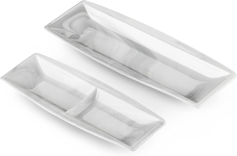 MALACASA Marble Gray Side Max 75% OFF Dish El Paso Mall Des Plates Porcelain Rectangular