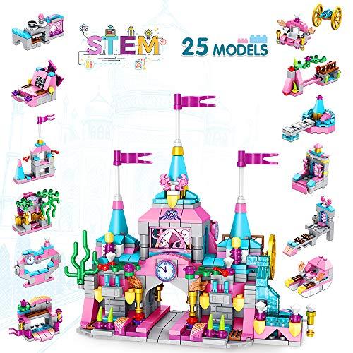 LUKAT Prinzessin Burg Bausteine Spielzeug für Mädchen 6 7 8 9 10 Jahre 568 Stück Gebäude Konstruktionsspielzeug 25-in-1 STEM Baukasten Pädagogisches Bauspielzeug Weihnachten Geschenk für Kinder