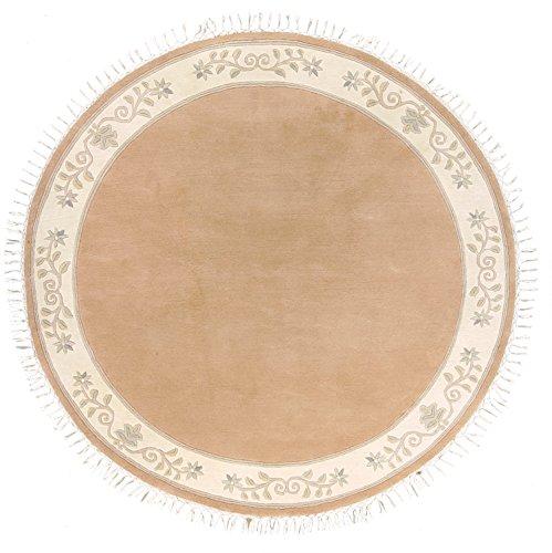 Sona-Lux Nepal Teppich handgeknüpft apricot Größe auswählen rund 250 cm