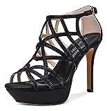 NobleOnly Zapatos de Tacón Mujer Plataforma Sandalias Romanas Tacón de Aguja 11CM High Heels Negro Zapatos EU 38.5