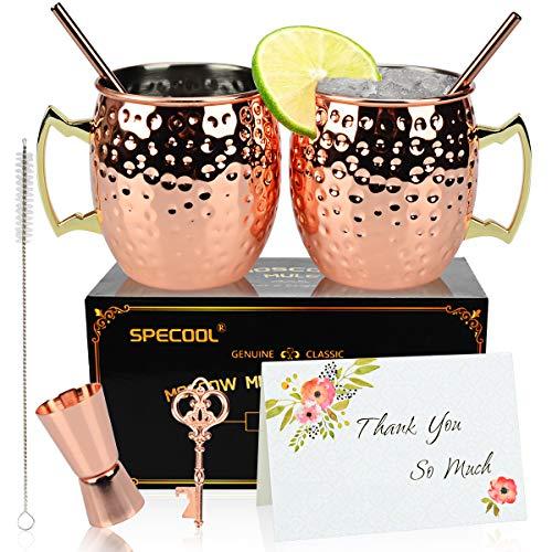 Tazze in rame Moscow Mule da 16 once per la coppia, 2 tazze in rame martellato con bicchiere da cocktail in acciaio inossidabile, set regalo per lei in puro rame solido oro rosa