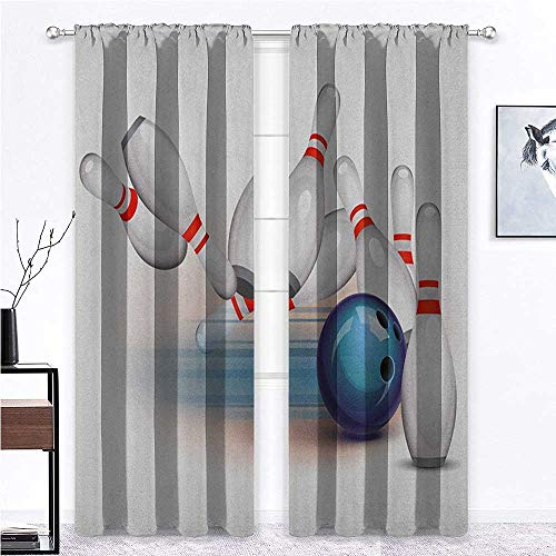 """Nomorer Eclipse Blackout Curtains Bowling Party for Kitchen Cafe Decor Thrown Ball and Scattered Pins Speed Hit The Target Shot Score 96"""" x 84"""" White Pale Blue Red 2 Panels"""