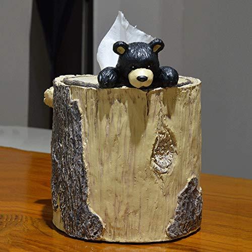 Linda del rollo de papel titular tubo de resina coche de caja del tejido de la cubierta, imitación de madera Estaca de tejido cuadro titular con el oso de la decoración, la novedad Servilletero regalo