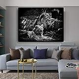 ganlanshu Cartel de Lienzo de Fauna de león Africano Blanco y Negro y Arte de Pared de Grabado,Pintura sin Marco,30x45cm