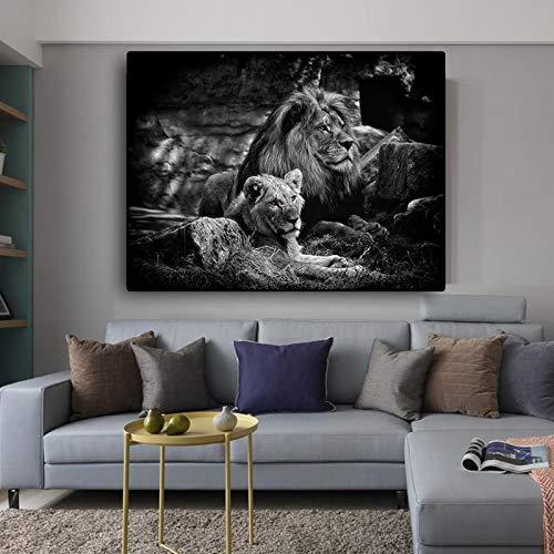 ganlanshu Schwarzweiss-afrikanischer Löwe-Wildtier-Leinwandplakat und Druckgrafik-Wand-Art-Deko,Rahmenlose Malerei,60x90cm