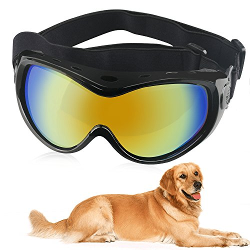 HelloPet Dog Goggles Dog Sunglasses Glasses for Dogs Dog Ski Goggles with UV Protection Pet Sunglasses with Adjustable Strap for Travel, Skiing and Anti-Fog (Black)