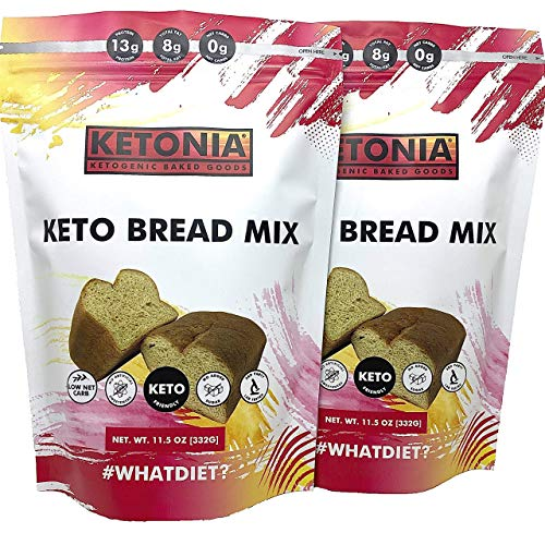Ketonia® Keto Bread Mix - 0 Net Carbs - 2-Pack - Keto Friendly - Low Carb Baking Fast & Easy - Also Make Pasta, Pancakes, Bagels & More - Works In Bread Machines