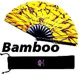 Fansay Fans - Large Bamboo Rave Festival Hand Fan for Women/Men - Big Folding Fan W/ Velvet Bag - Festival Clothing, Rave Accessories, Chinese Japanese Clack Fan, LGBT Pride, Decoration, Gift