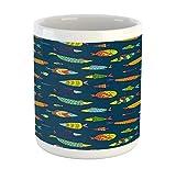N\A Taza náutica, Dibujos Animados de Peces submarinos Nadando en el Acuario de Burbujas Marinas, Taza de café de cerámica para Bebidas de té de Agua, 11 oz, Azul Noche Multicolor