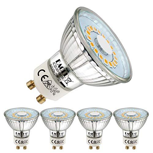 EACLL Bombillas LED GU10 2700K Blanco Cálido 5W Fuente de Luz 425 Lúmenes Equivalente 50W Halógena Lámpara. AC 230V Sin Parpadeo Focos, 120 ° Blanca Cálida Reflectoras Spotlight, 4 Pack