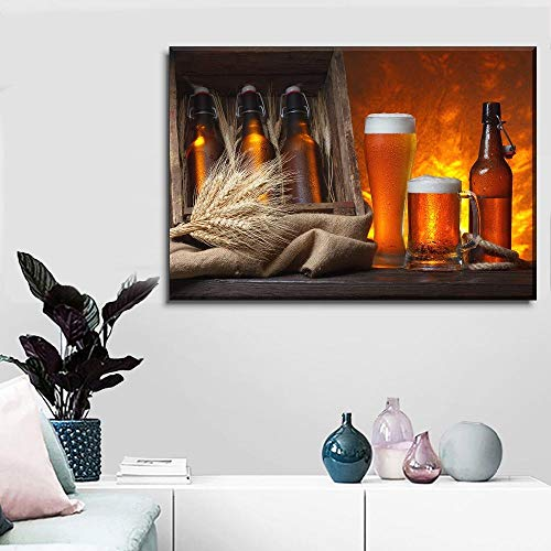 104Tdfc Cuadro sobre Impresión Lienzo 1 Piezas Película Cerveza y Trigo Cuadro en Lienzo 1 Piezas Listo para Colgar Lienzos Moderno Arte Sala Decoración Regalo