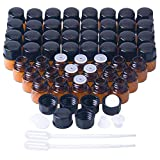 100 Pack 1ml Essential Oil Bottles, 1/4 Dram Amber Glass Sample Bottles With Orifice Reducers and Black Caps for Essential Oils,Chemistry Lab Chemicals,Colognes & Perfumes (1ml)