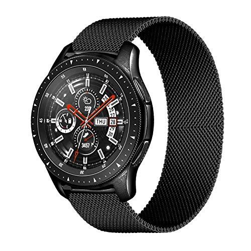 LRJBFC 20mm 22mm Strap für Samsung Galaxy Uhr 46mm 42mm Getriebe S3 Frontier Watch 3 45mm 41mm Active 2 für Huawei GT 2 Amazfit BIP-Band (Band Color : Black, Band Width : 22mm)