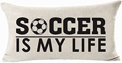 Sports Series Vintage Soccer Design Soccer Is My Life Cotton Linen Waist Lumbar Pillow Case Cushion Cover Personalized Hom...
