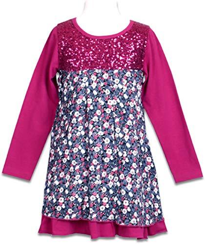 Pezzo Doro Mädchenkleid mit Pailettenbesatz Prinzessinnenkleid kompl. gefüttert Beere/pink (92)