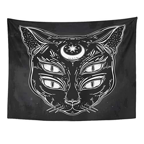 Tapiz negro cabeza de gato retrato con luna y cuatro ojos es ideal para Halloween tatuaje espiritualidad Wierd decoración del hogar colgante de pared para sala de estar, dormitorio 156 x 200 cm