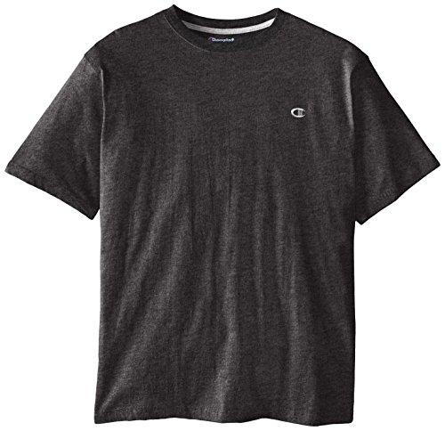 Champion Men's Big-Tall Crew Neck Jersey T-Shirt, Charcoal Heather, 3X/Tall