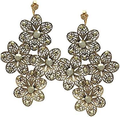 LARAMI Gold plated Flower Clip On Earrings