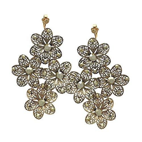 LARAMI Clip del fiore dell'oro sugli orecchini