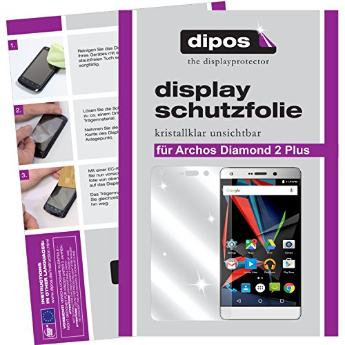 dipos I 2X Schutzfolie klar kompatibel mit Archos Diamond 2 Plus Folie Bildschirmschutzfolie