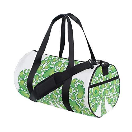 HARXISE Bolsa de Viaje,Figura de trébol irlandés Hecha con pequeños Patrones de trébol gráfico de símbolo Espiritual,Bolsa de Deporte con Compartimento para Sports Gym Bag