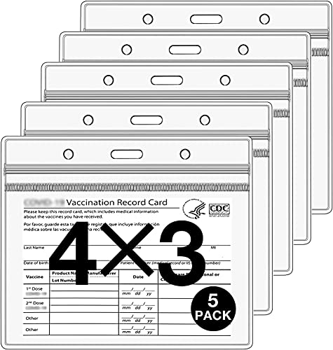 5 Pack - Clear CDC Vaccine Card Protector 4'' X 3'' Immunization Badge, Vaccination Card Protector 4'' X 3'' Horizontal Badge ID Name Tag, Vinyl Plastic Sleeve with Waterproof Type Resealable Zip