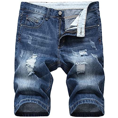 Pantalones Cortos Hombre Vaqueros Rotos Shorts Hombre Verano con Bolsillos Pantalones Rectos Casual para Hombre Vaqueros Talla Grande Pantalon Corto Hombre Ideal para Vida Diaria,Trabajo