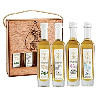 Pellas Nature 2020 Award Winning Italian and Greek Herbs Infused Extra Virgin Finishing Olive Oil Wooden Set All-Natural No-Additives 4 X 50 ml  1.7 oz  French bottles