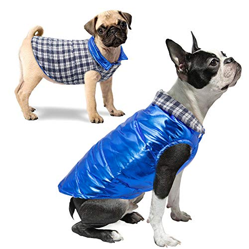 Didog Reversible Puppy Winter Jacket,Waterproof Warm Dog Vest Clothes,Shiny Metallic & Plaid Pattern Cozy Cold Weather Coat for Chihuahua Poodles French Bulldog Pomeranian