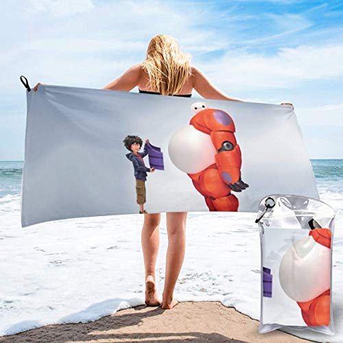 SFWER Cartoon Thema Baymax Schnelltrocknendes Badetuch Mikrofaser Tragbares Leichtes Reisesporttuch für Camping Rucksacktouren Wanderstrand YOG Schwimmsport Sport Schwimmen